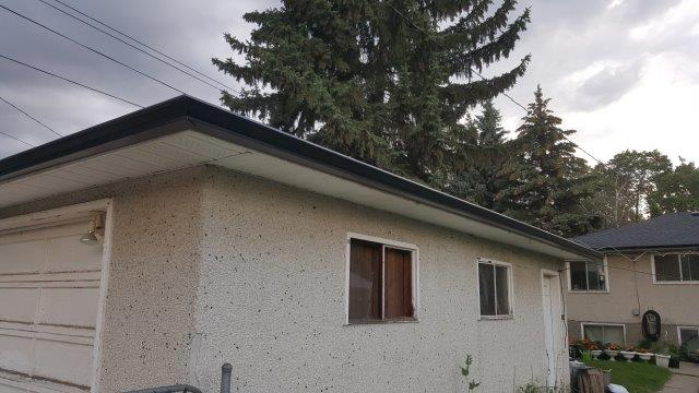 gutter installation edmonton - new eavestrough on a garage